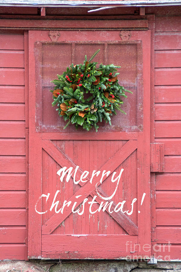 Merry Christmas Wreath On Red Barn Door Photograph By Cheryl