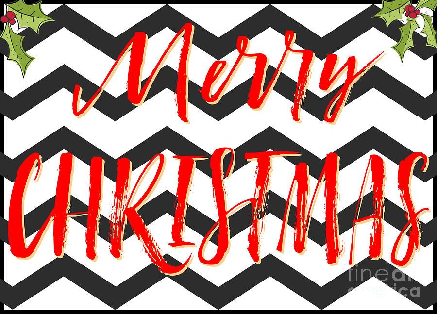 Merry Christmas Zigzag Holly Digital Art