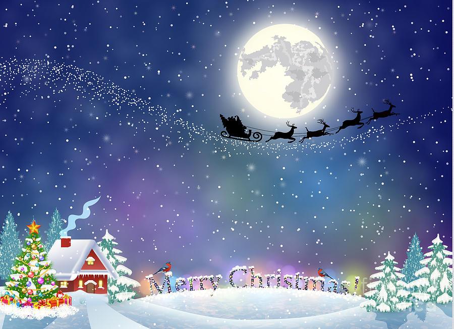 Snowfall Digital Art - Meryy Christmas And Happy New Year by Drogatnev
