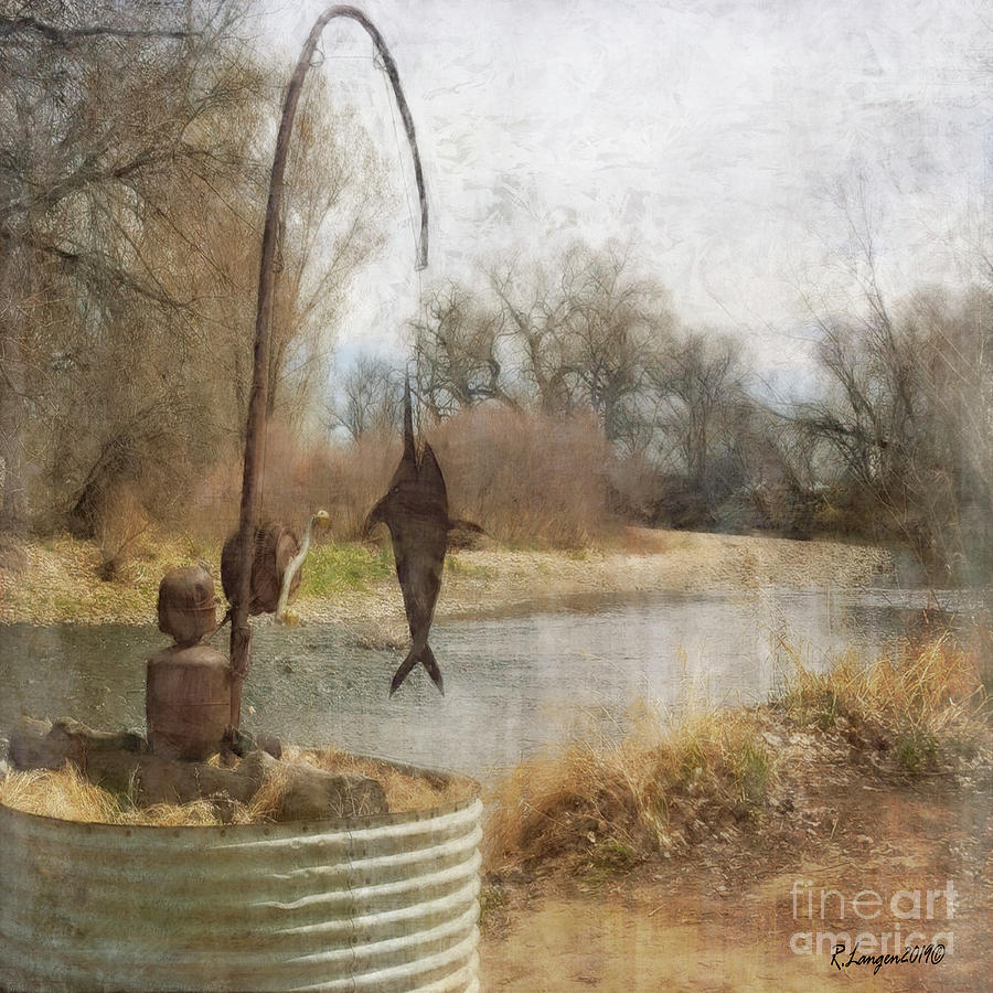 Metal Fisherman on the River by Rebecca Langen