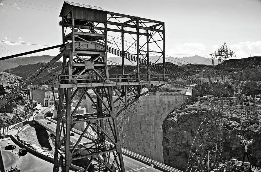 Metal structure at Hoover Dam BW by RicardMN Photography