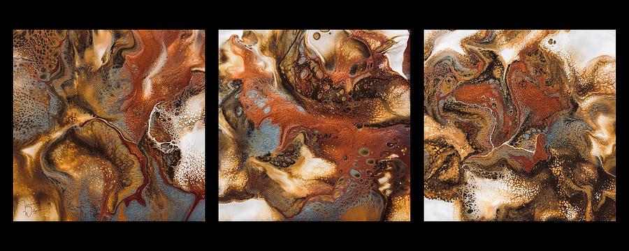 Acrylic Painting - Metallic Magic Triptych By Teresa Wilson  by Teresa Wilson