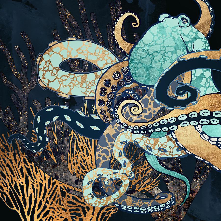 Digital Digital Art - Metallic Octopus II by Spacefrog Designs