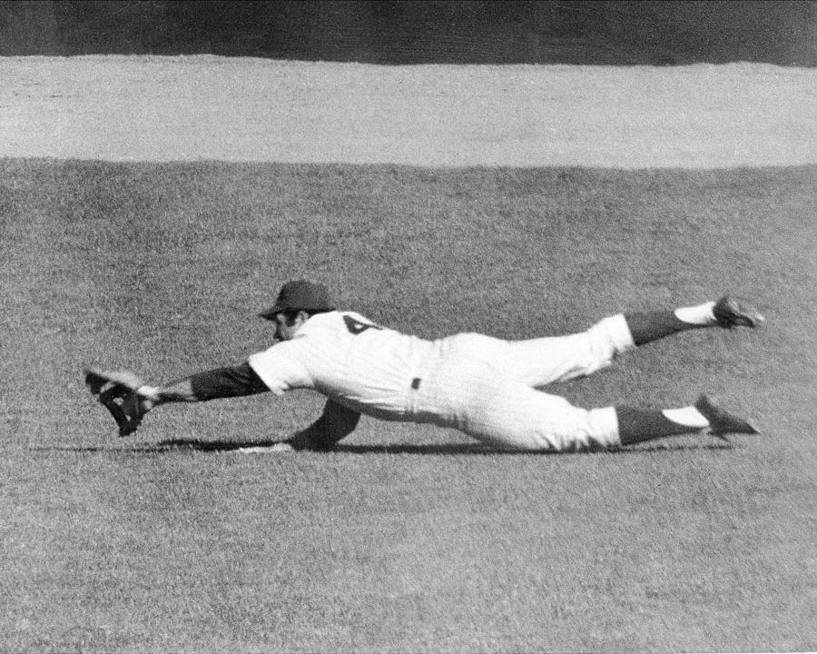 Mets Ron Swoboda Dives To Stab Brooks Photograph by New York Daily News Archive