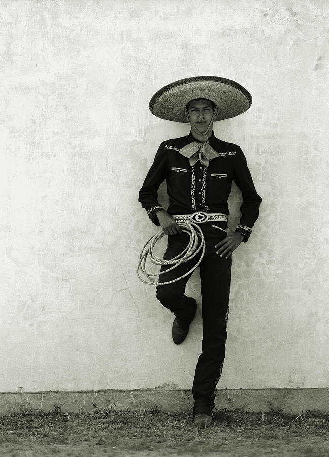 Mexican Cowboy Wearing Hat And Holding Photograph by Terry Vine