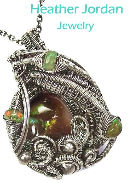 wire wrapped pendant Fire agate necklace gemstone jewelry