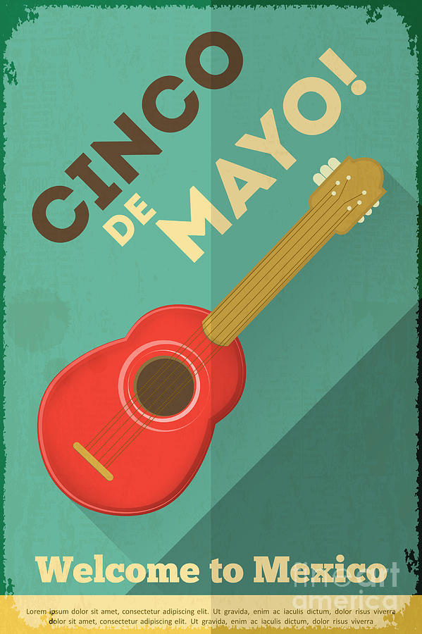 Country Digital Art - Mexican Guitar Posters In Retro Style by Vector Posters And Cards