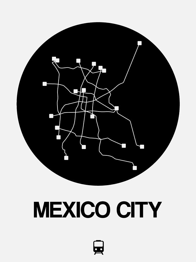 City Subway Map Art.Mexico City Black Subway Map By Naxart Studio