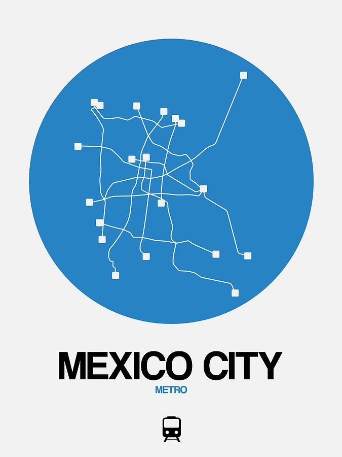 Mexico City Digital Art - Mexico City Blue Subway Map by Naxart Studio