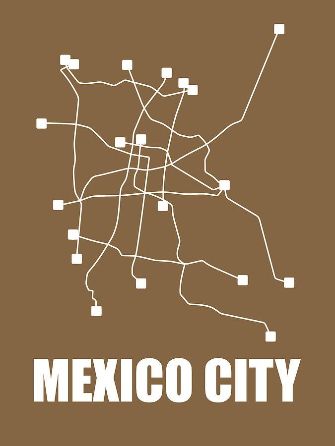 Mexico City Digital Art - Mexico City Subway Map 2 by Naxart Studio