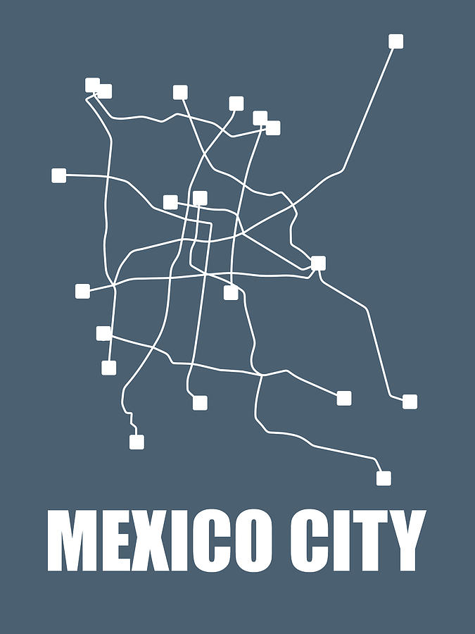City Subway Map Art.Mexico City Subway Map By Naxart Studio