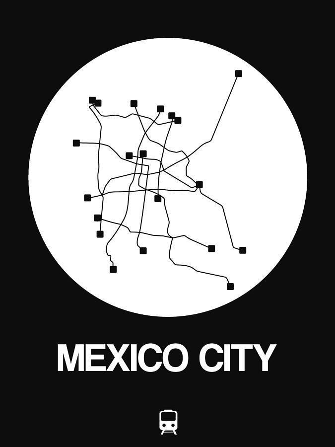 Mexico City Digital Art - Mexico City White Subway Map by Naxart Studio