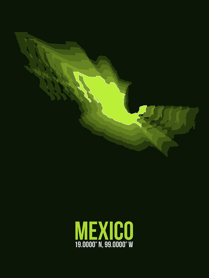 Map Of Mexico Digital Art - Mexico Radiant Map 3 by Naxart Studio