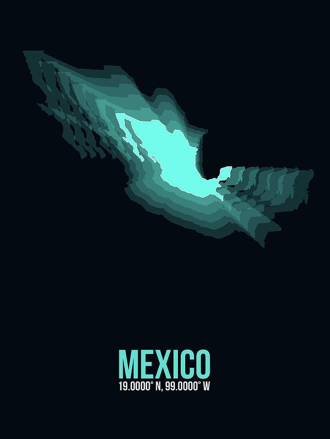 Map Of Mexico Digital Art - Mexico Radiant Map II by Naxart Studio