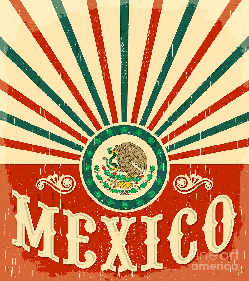 Country Digital Art - Mexico Vintage Patriotic Poster - Card by Julio Aldana