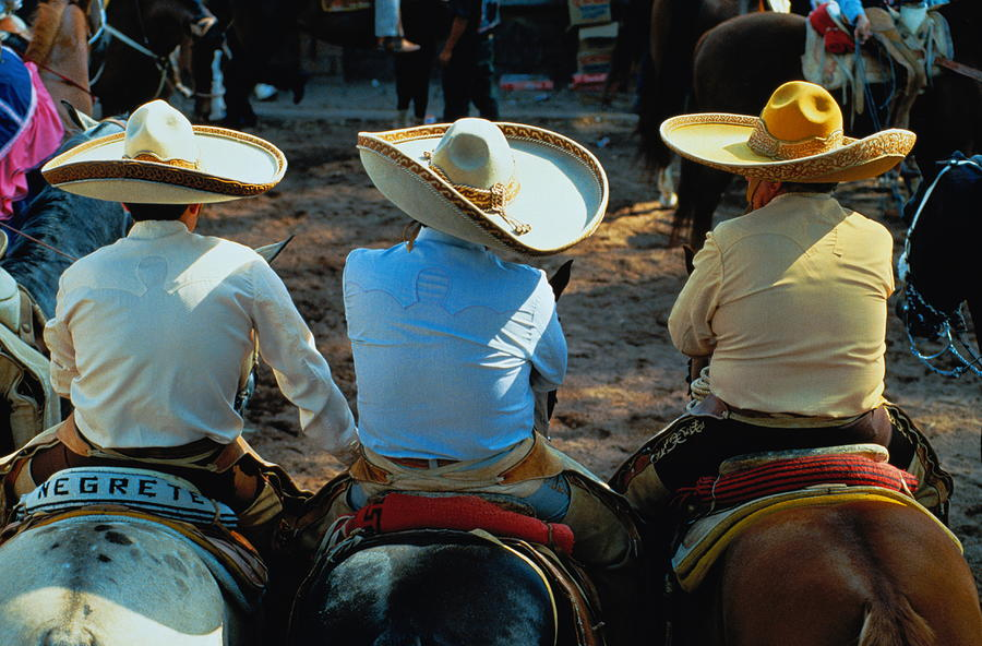 Mexico,mexico City,three Charros Photograph by Oliver Benn