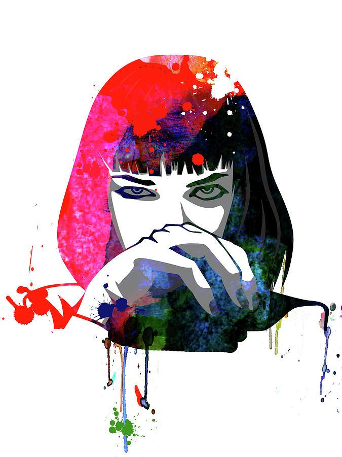 Movies Mixed Media - Mia Snorting Watercolor by Naxart Studio