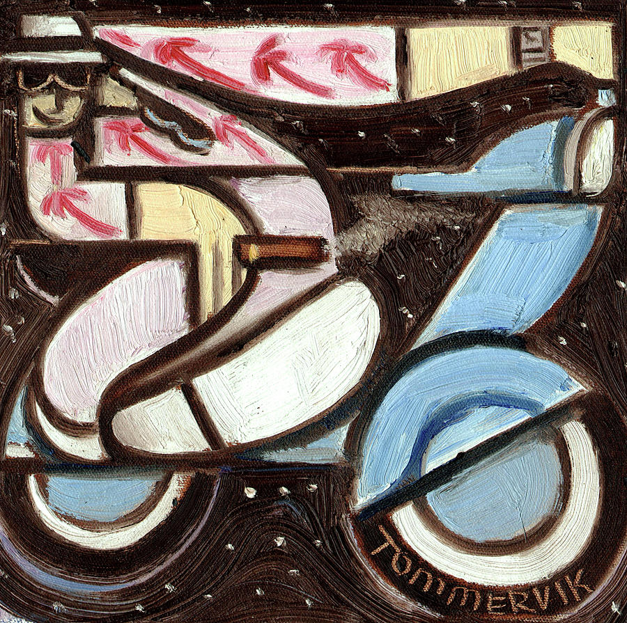 Miami Painting - Miami Beach Man Riding A vespa in Outer Space Art Print by Tommervik