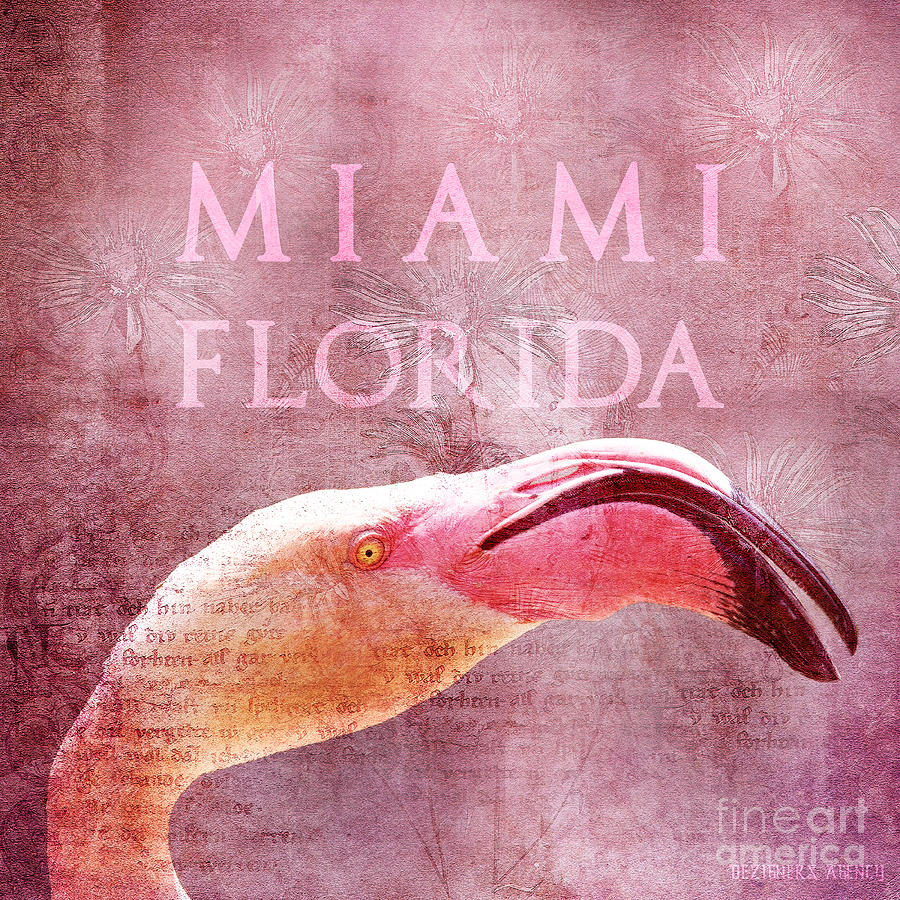 Duvet Mixed Media - Miami Florida- Pink Flamingo by Dezigners Agency