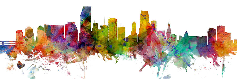 Miami Digital Art - Miami Florida Skyline Panoramic by Michael Tompsett