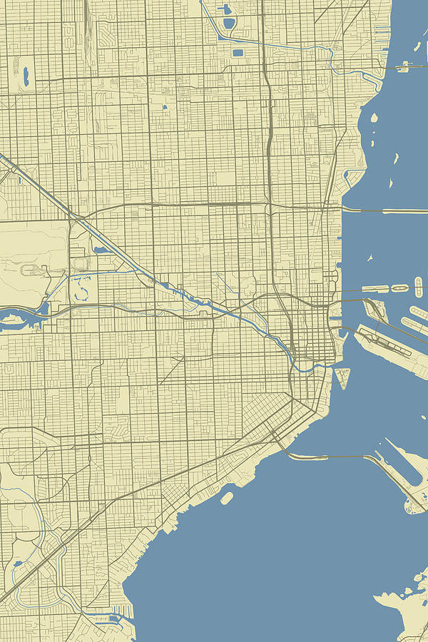 Florida On Usa Map.Miami Florida Usa Classic Map By Jurq Studio