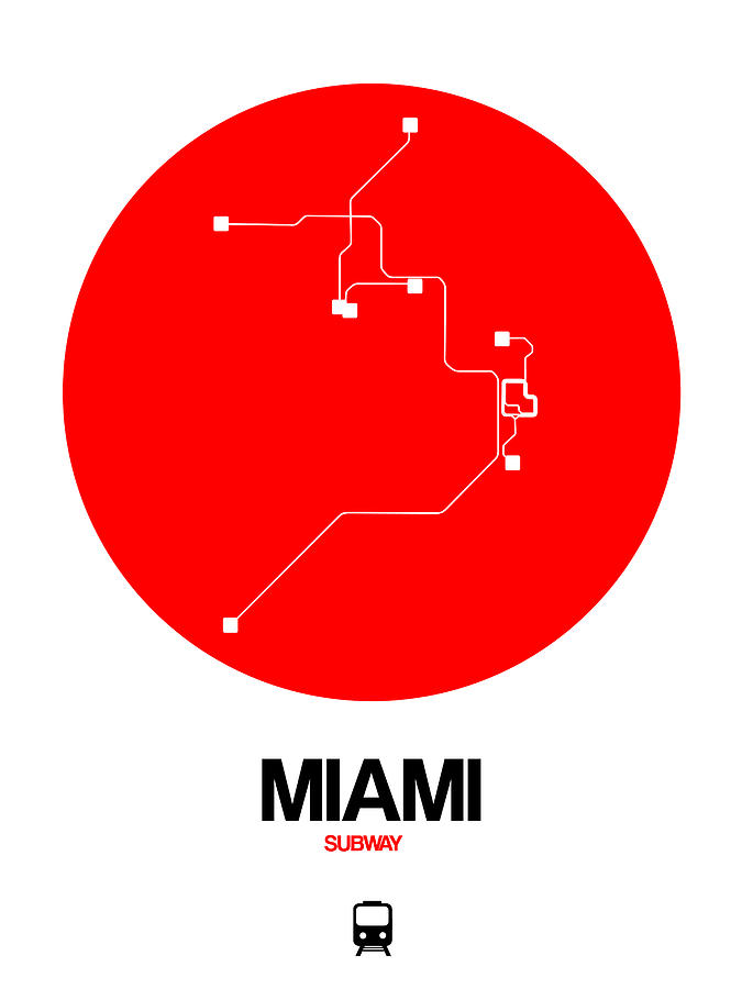 European Cities Digital Art - Miami Red Subway Map by Naxart Studio