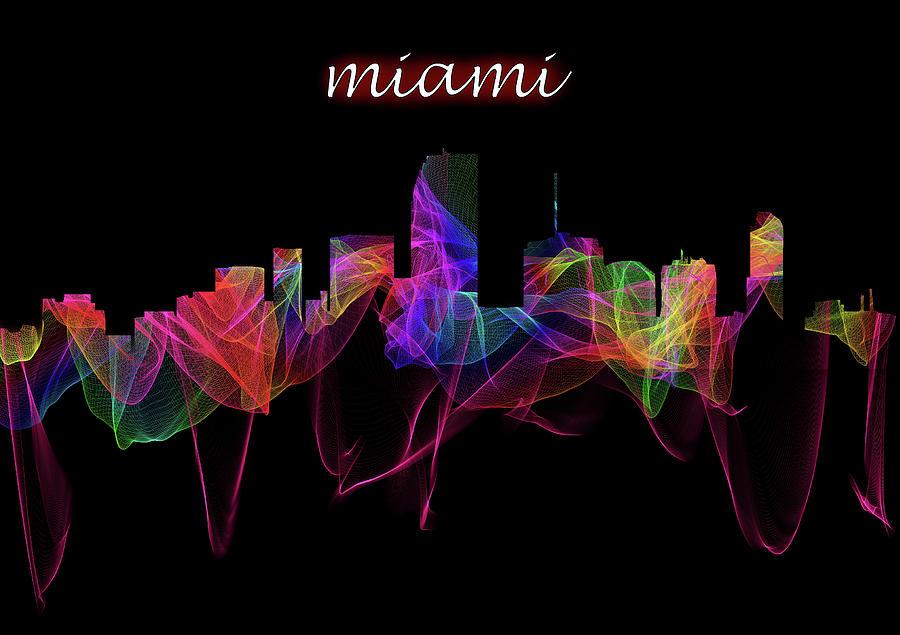 Miami Skyline Art with Script by Debra and Dave Vanderlaan