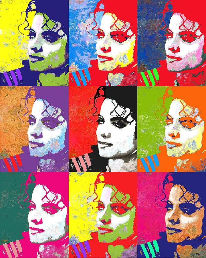 Pop Digital Art - Michael Jackson Andy Warhol Style by Linda Mears