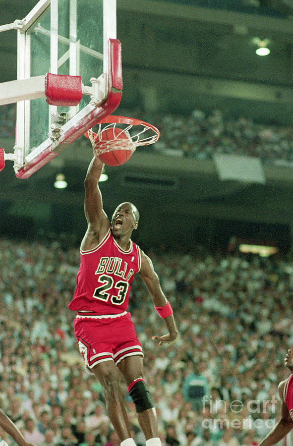 Michael Jordan Slam Dunking Basketball Photograph by Bettmann