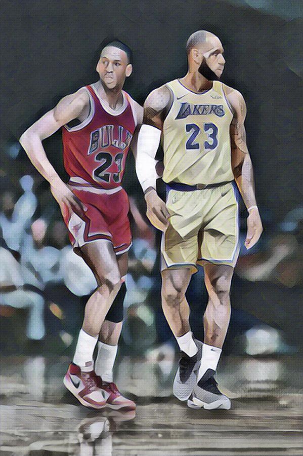 cbe3d1cd8a8 Michael Jordan Mixed Media - Michael Jordan Vs Lebron James Abstract Art 1  by Joe Hamilton