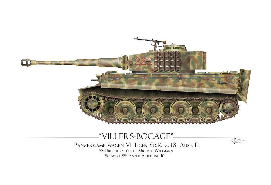 Michael Wittmann Tiger Tank 222 - White Background by Craig Tinder
