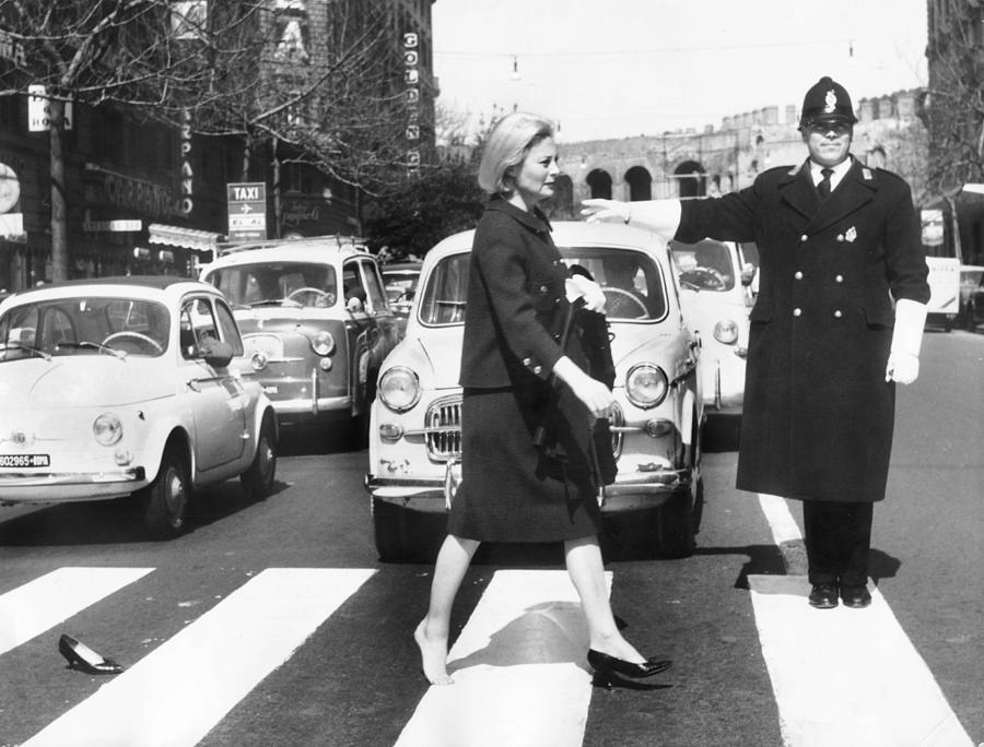 Actress Photograph - Michele Morgan Crossing A Street In by Keystone-france