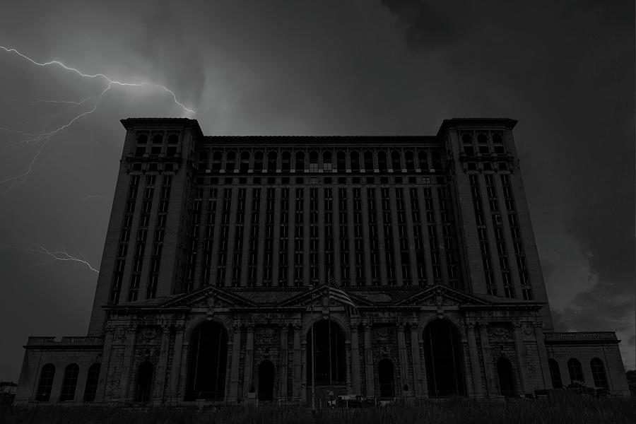 Michigan Central Station Lightning Photograph
