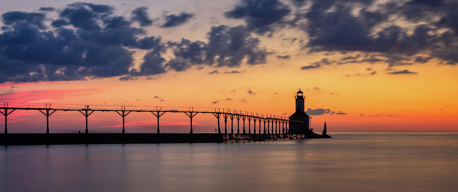 Michigan City East Pierhead Lighthouse After Sunset Panorama by Andy Konieczny