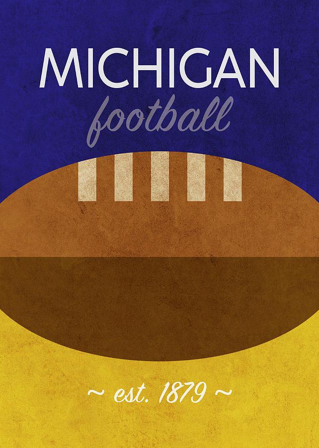 Michigan Mixed Media - Michigan Football Minimalist Retro Sports Poster Series 001 by Design Turnpike