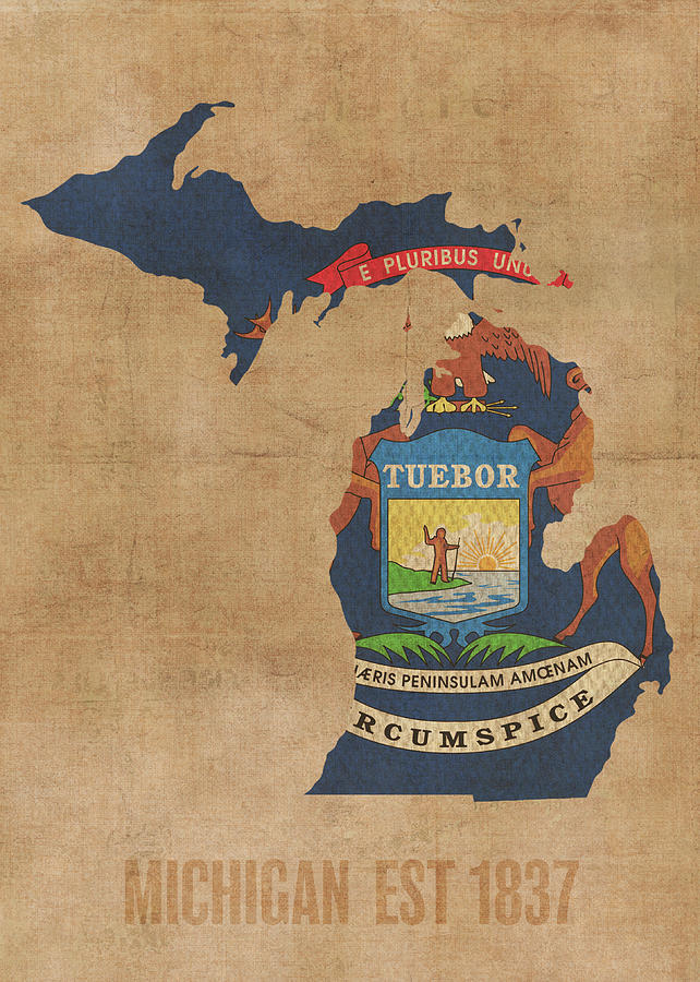 Michigan State Flag Map Founded Date