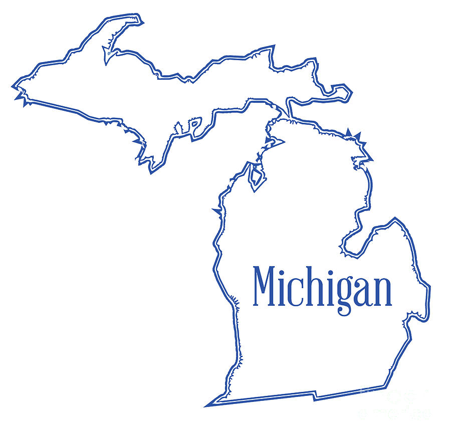 Michigan State Outline Map Digital Art By Bigalbaloo Stock
