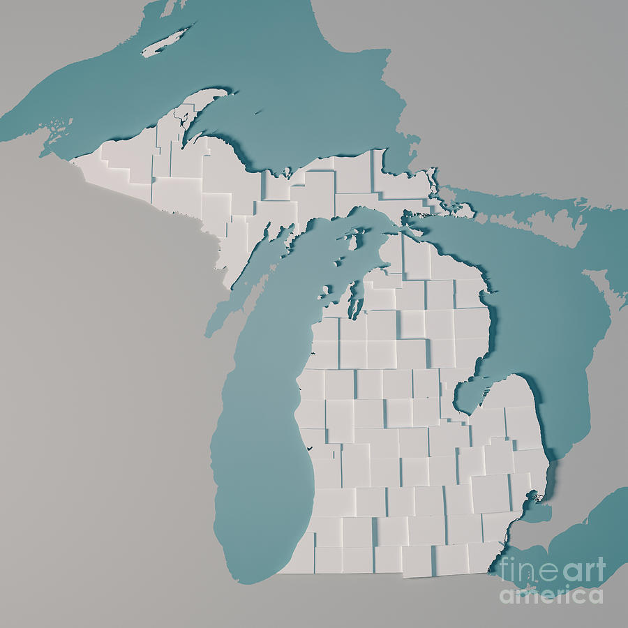 Michigan Us State Map Administrative Divisions Counties 3d Rende