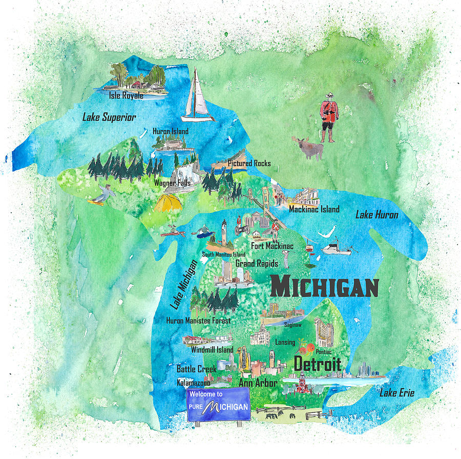 Michigan Usa State Illustrated Travel Poster Favorite Tourist Map on illustrated wedding map, illustrated beach map, illustrated island map,