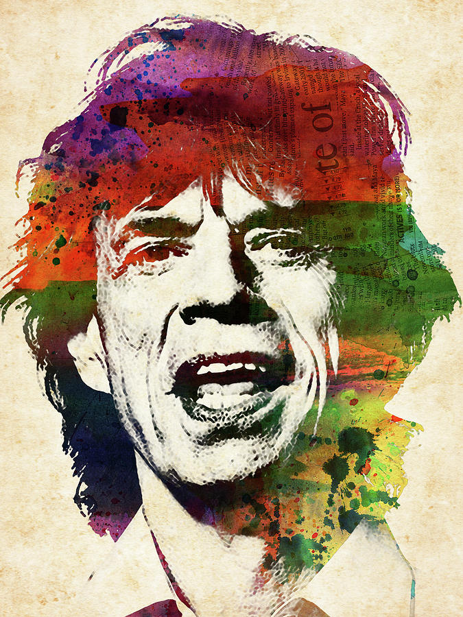 Mick Jagger Watercolor Portrait Digital Art