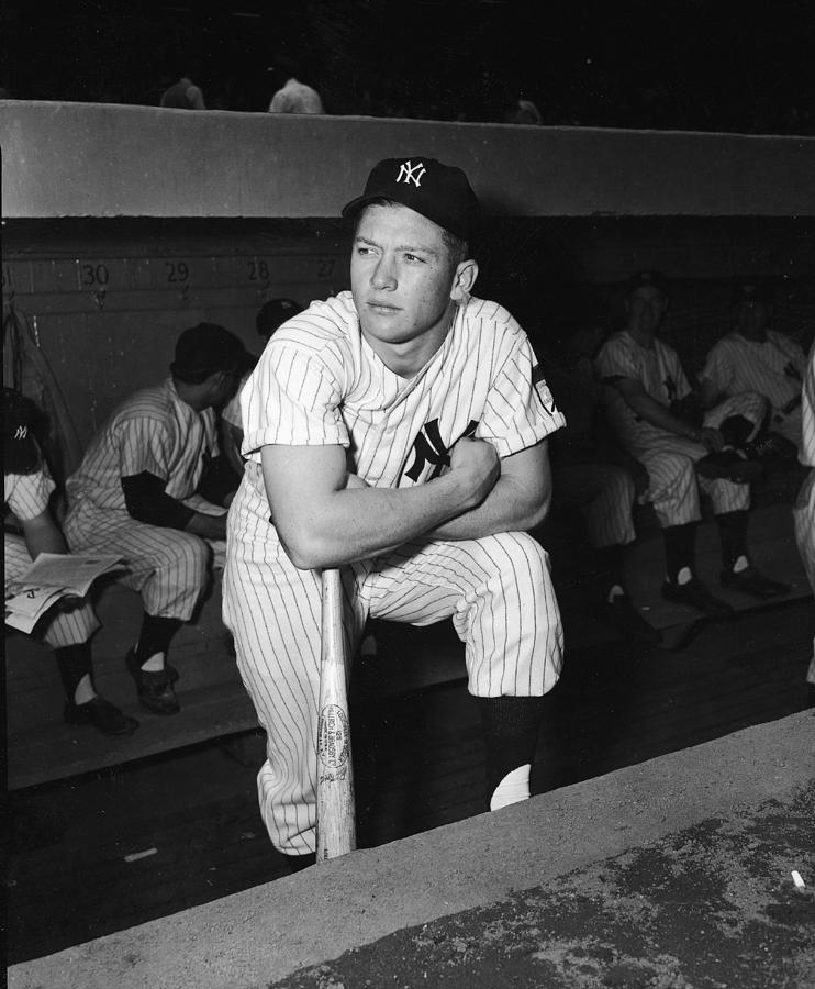 Mickey Mantle In Yankee Dugout Photograph by Frederic Lewis