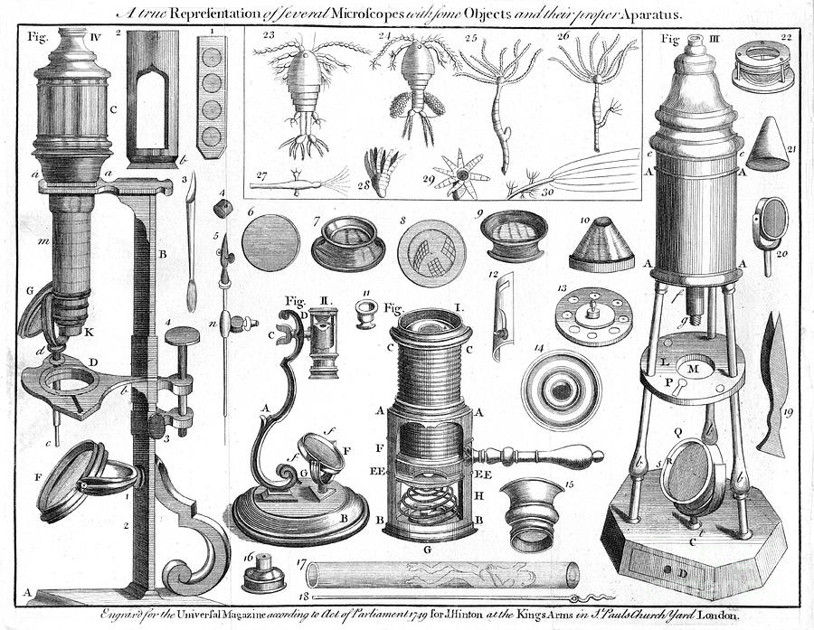 Microscopes And Microscopical Objects Drawing by Print Collector