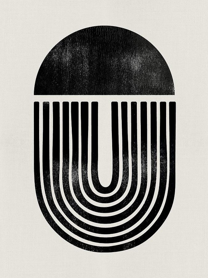 Black And White Mixed Media - Mid Century Abstract Geometric II by Naxart Studio
