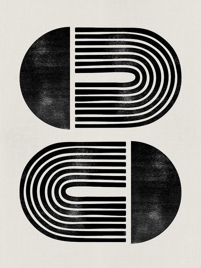 Black And White Mixed Media - Mid Century Abstract Geometric III by Naxart Studio