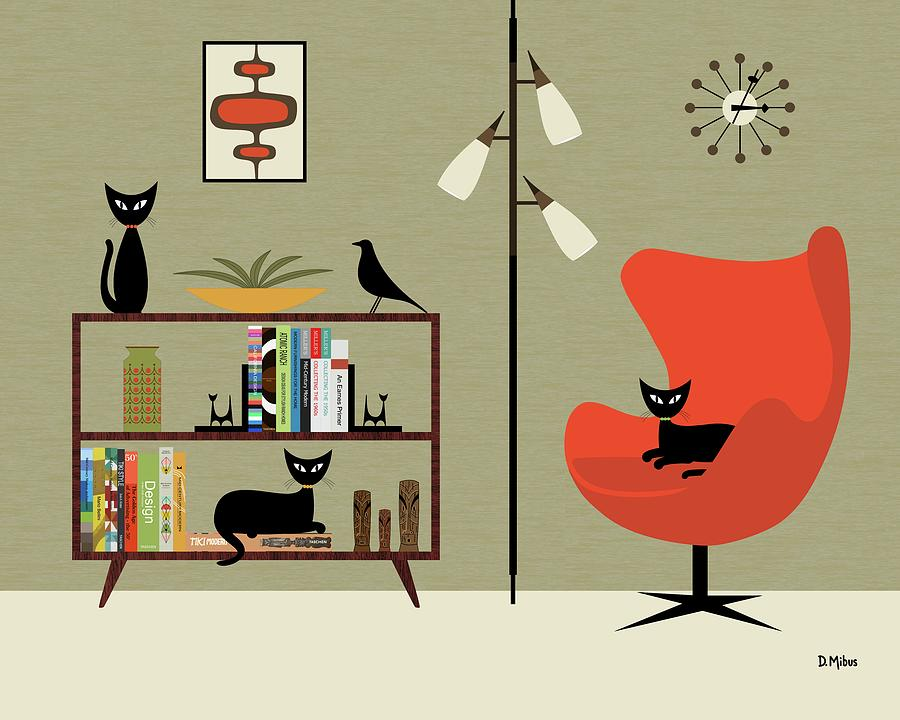 Mid Century Bookcase Room by Donna Mibus
