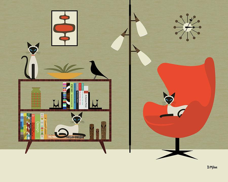 Mid Century Modern Digital Art - Mid Century Bookcase Room with Siamese by Donna Mibus