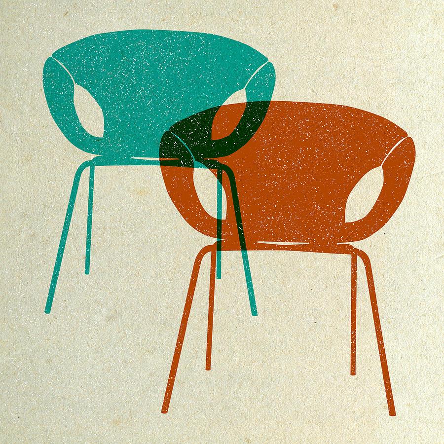 Mid-century Digital Art - Mid Century Chairs Design IIi by Naxart Studio