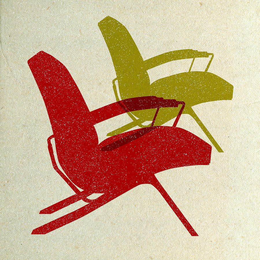 Mid-century Digital Art - Mid Century Chairs Design  by Naxart Studio