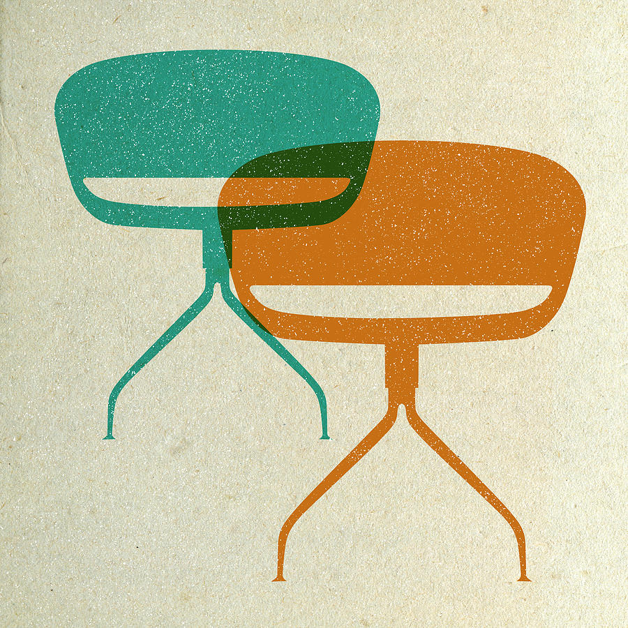 Mid-century Digital Art - Mid Century Chairs II by Naxart Studio