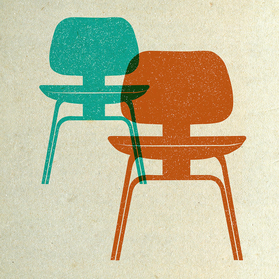 Mid-century Digital Art - Mid Century Chairs Print I by Naxart Studio